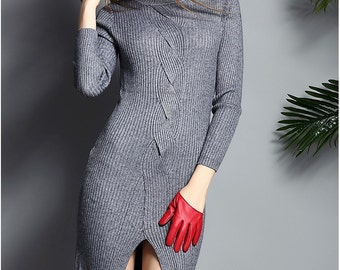 Women Long Sweater dress Winter Cashmere Knitted O-neck Slim Dress 2016 New Fashion Woolen Pullover Female Clothes