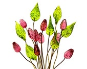 SUPPLY: 14 Colorful Flower and Leaf Headpin - Glass Headpins - Pink Tulip - Millinery - Flower Beads - Tulips - SKU 8-C3-00007295-OS9-89