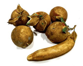 VINTAGE: 5 LARGE Old Distressed Gold Fruits - Christmas Ornaments - Christmas Crafts - Holiday Decor - SKU Tub-603-00006619)