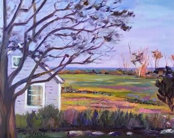 Connecticut Shoreline Landscape / 16 X 20 / Original Oil Painting