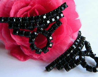 Elegant 1950's Black Rhinestone Shoe Clips- Abstract Geometric Bridal Japanned Finish Goth Repurpose Retro Glamour Bling