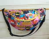 Female Super Heroes Fanny Pack - Hip Bag - Children thru Adult Sizes - Bat Girl - Wonder Woman - Super Girl