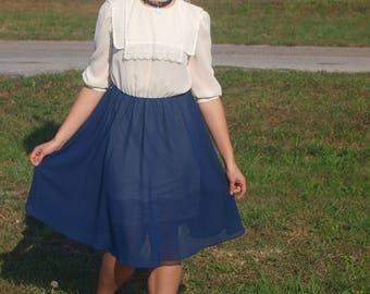 Blue & White Vintage Sheer Dress Full Skirt Short Sleeves
