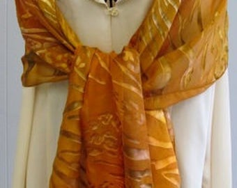 Large Gold Devore' Scarf
