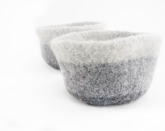 WOOLY FELTED BOWLS - two felted nesting bowls - grey shades, anthracite, ash, smoke 24