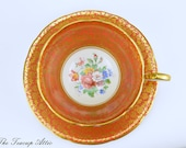 Aynsley Burnt Orange Teacup and Saucer Set With Floral Center, English Bone China Tea Cup, Replacement China,ca. 1939