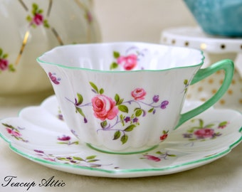 Shelley Teacup And Saucer Set with Pale Green Trim, English Bone China, Wedding Gift, ca. 1945-1966