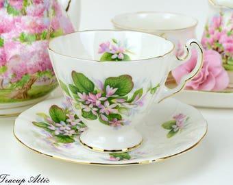 Adderley Provincial Flowers Mayflower Teacup And Saucer Set, English Bone China, Wedding Gift, ca. 1960