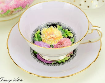 Paragon Pale Purple Teacup And Saucer Set With Pink And Yellow Chrysanthemum Flowers, English Bone China Tea Cup Set, ca. 1963