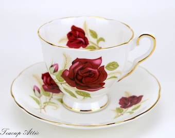 RESERVED FOR MARIE Royal Stafford Fiesta Teacup and Saucer Set With Red Roses, English Bone China, Tea Party, Wedding Gift, ca. 1950