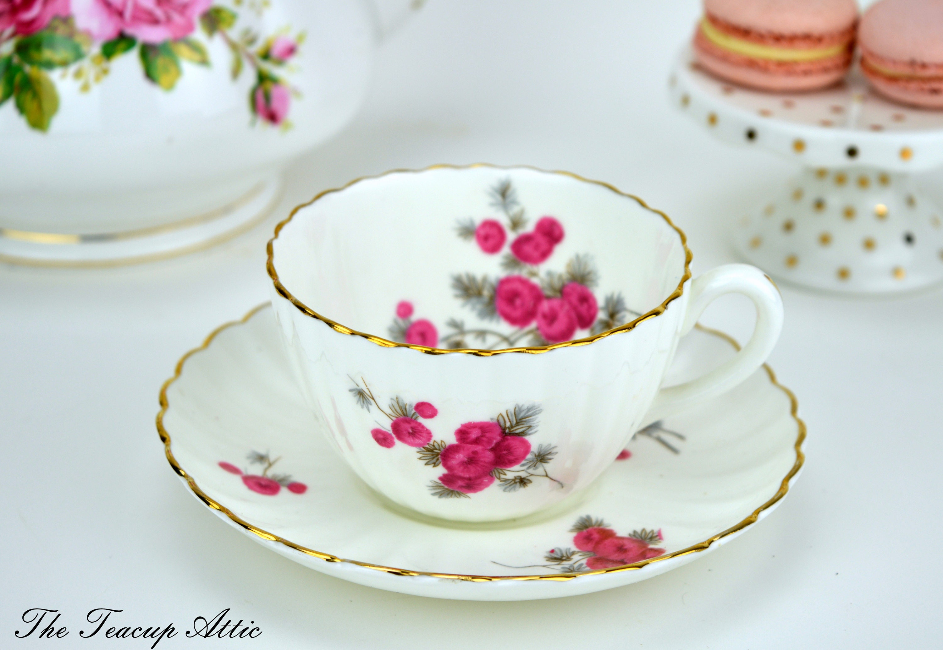 Radfords Vintage Teacup And Saucer Set With Pink Flowers, English Bone China Tea Cup Set, Garden Tea Party, ca 1938-1957