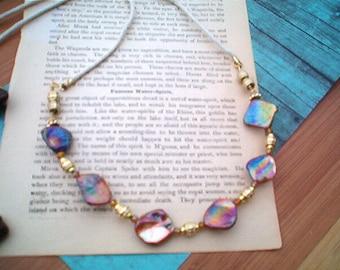 LUMINOUS Rainbow Shell Necklace, Gold, Ivory Cord Necklace, Chunky Shell Necklace,  Glowing Irridescent  Colors, Beach Necklace, Elegant