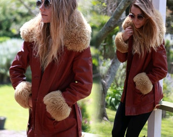 Vintage hippie trashed leather coat / penny lane jacket in muted red with furry sheepskin trims / Russian Princess afghan / worn in patina