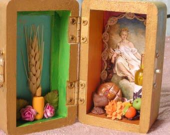 Demeter Box Shrine. Miniature Nicho.  Travel Altar. Shadow Box. Ceres. Shadow Box. Mixed Media Altered Art.