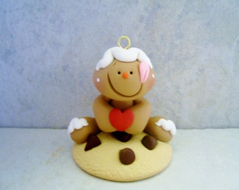Gingerbread Man - Chocolate Chip Cookie - Polymer Clay - Christmas - Holiday Ornament