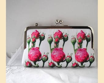 Clutch bag wristlet, pink purse, evening purse, wedding clutch, bridesmaids gift, personalised clutch, pink rosebuds
