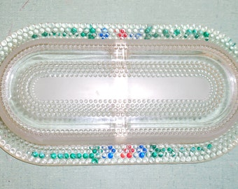 Divided Condiment Tray Hand Painted Clear Glass Tiny Bubbles Floral Decoration