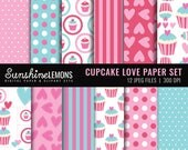 Cupcake Love Digital Scrapbooking Paper Set - COMMERCIAL USE Read Terms Below