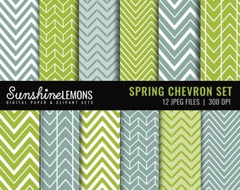 Spring Chevron Digital Papers - Set of 12 - COMMERCIAL USE Read Terms Below