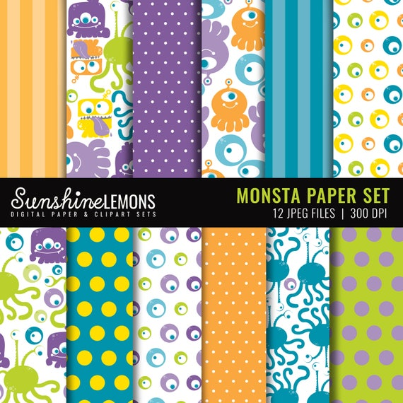 Monsta Digital Paper Pack - Set of 12 Papers - COMMERCIAL USE Read Terms Below
