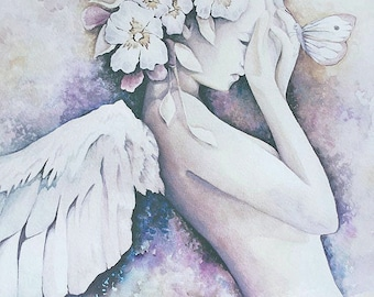 "THE AWAKENING Limited Edition of 50, Signed and Numbered by Artist, Giclee Angel Art Print, 13"" x 19"""