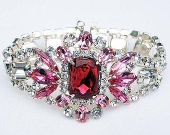 30% OFF SALE - Vintage-Inspired Rose and Crystal Semi-Rigid Cuff Bracelet