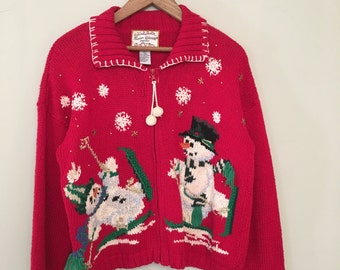Vintage Snowman Sweater Cardigan with zipper and pom-poms
