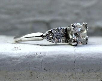 Vintage Deco Platinum Diamond Engagement Ring with GIA cert - 1.02ct.