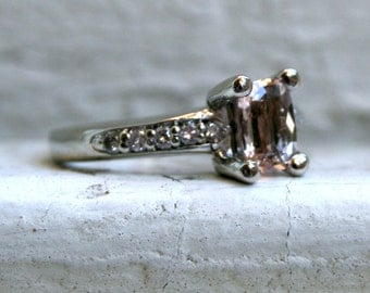 RESERVED - Vintage 14K White Gold Morganite and Diamond Engagement Ring - 1.50ct.