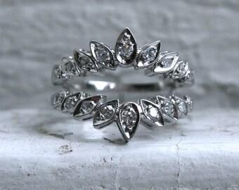 Vintage 14K White Gold Pave Set Diamond Wedding Band Jacket- 0.36ct