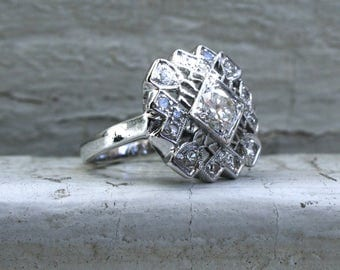 RESERVED - Pretty Vintage 14K White Gold Diamond Cluster Ring Engagement Ring - 1.29ct.