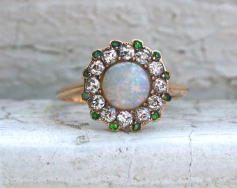 Gorgeous Antique Opal, Diamond, and Demantoid 14K Yellow Gold Ring Engagement Ring - 1.66ct.