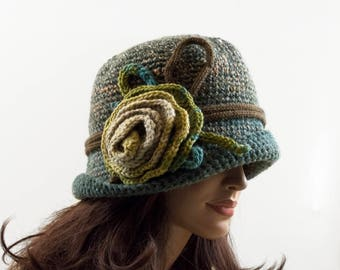Crochet Cloche Hat with Crochet Flower - Green, Gray and Mustard, Size L