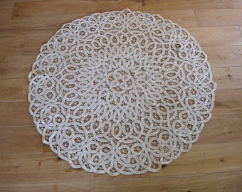 round lacy tablecloth topper, vintage French tapework topper