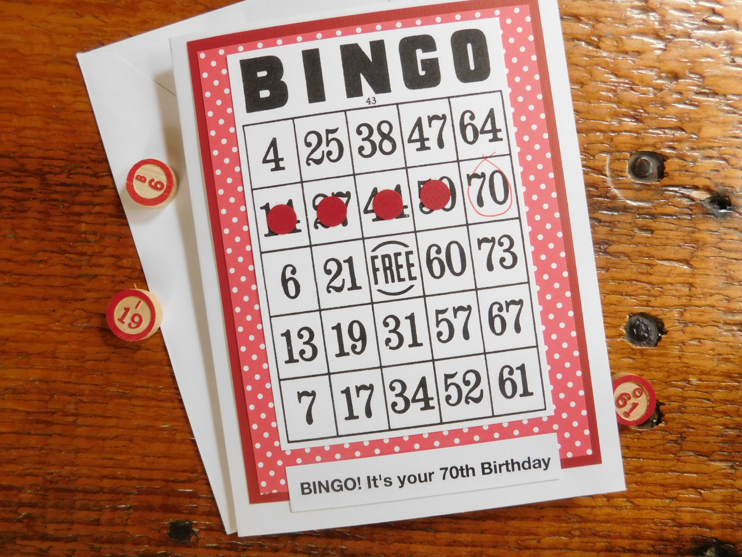 Bingo Birthday Greeting Card 70th Birthday Card Bingo