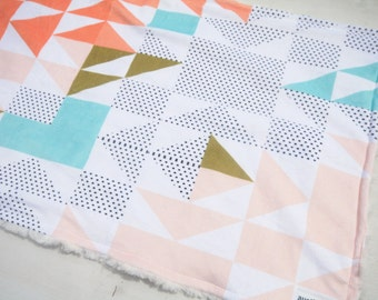Coral Triangle Wholecloth Baby Blanket Lovey, Baby Girl Minky Lovey, Puzzle Quilt Triangles Lovey, Ready to Ship, Baby First Christmas