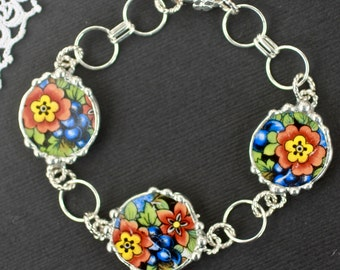Bracelet, Broken China Jewelry, Broken China Bracelet, Round China Charms, Colorful Floral, Art Deco, Soldered Jewelry, Sterling Silver