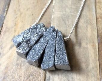 silver fan GREY DRUSY crystal sterling silver bib necklace
