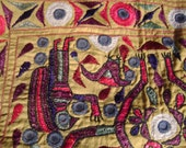 VINTAGE Hand Sewn Unuual WALL HANGING believed to be from India?