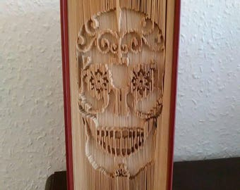 PATTERN - Halloween- Day of the Dead- Sugar Skull - Folded Book Art Pattern - Cut and Fold