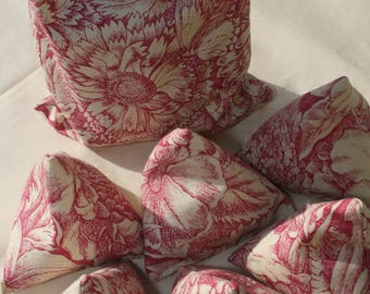 Set of 6 Handmade Sewing Pattern Weights with Complimentary Matching Storage Bag in Pretty Raspberry and Cream Cotton