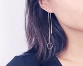 ON SALE Long open hexagon chain earrings - threader earrings
