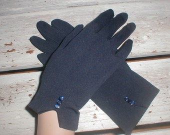 Navy Nylon Gloves With Navy Buttons at Wrist *Size Small* Sweet Vintage Accessory