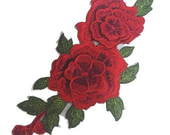 Sewing Embroidered Red Rose Flowers Patch Applique, Sewing Red Flower Patch Applique