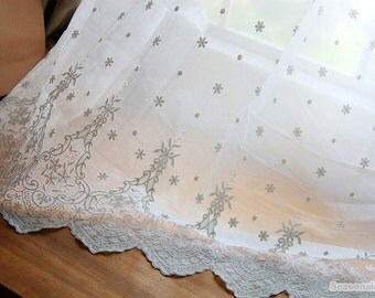 White Tulle Embroidered Lace Fabric, Borders Lace Scalloped Edges, Bridal Wedding Lace Fabric, Dress Curtain Lace fabric 1/2 Yard W189