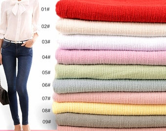 Pure cotton Linen Fabric, Gauze Creases Fold fabric,Soft and thin Linen Fabric- 1/2 yard  (QT1210)