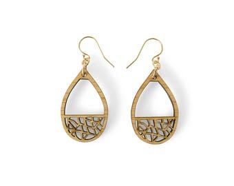 Teardrop earring - dangle earrings - drop earrings - wooden earings - laser cut statement earrings - wooden anniversary