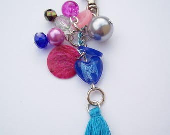 Bright blue and pink keyring charm