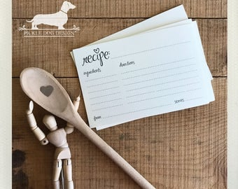 CLEARANCE! 4x6 Simplistic Recipe Cards (Qty 13) -- (Ivory, Simple, Wedding Gift, Bridal Shower Favor, Rustic, From The Kitchen of, Love)