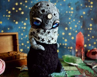 Payment 2. Reserved for Jenni. MoonChild. Black - ooak whimsical art doll fantasy creatures handmade toy interior gift doll